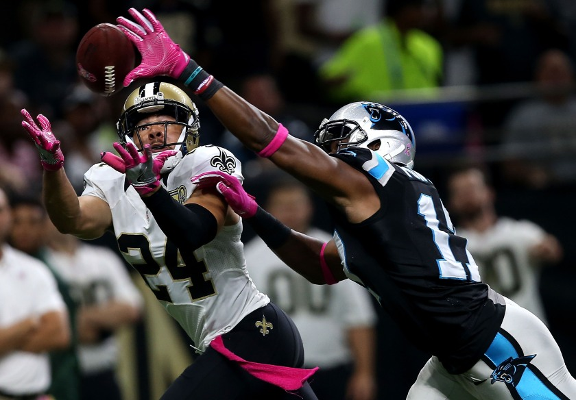 Sterling Moore #24 of the New Orleans Saints intercepts a pass over Devin Funchess #17 of the Carolina Panthers during the second quarter at the Mercedes-Benz Superdome on October 16, 2016 in New Orleans, Louisiana. (Sean Gardner/Getty Images)