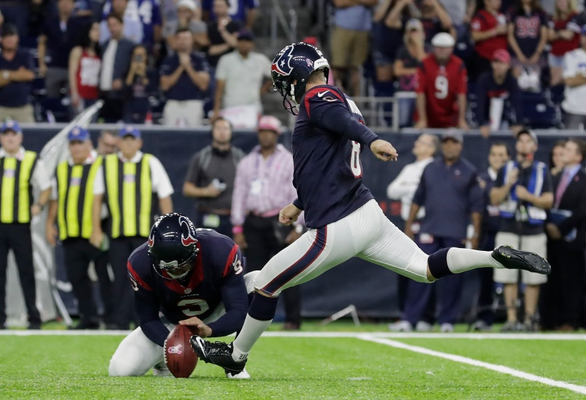 Nick Novak #8 of the Houston Texans completes a winning 33 yard field goal during overtime at NRG Stadium on October 16, 2016 in Houston, Texas. (Photo by Tim Warner/Getty Images)