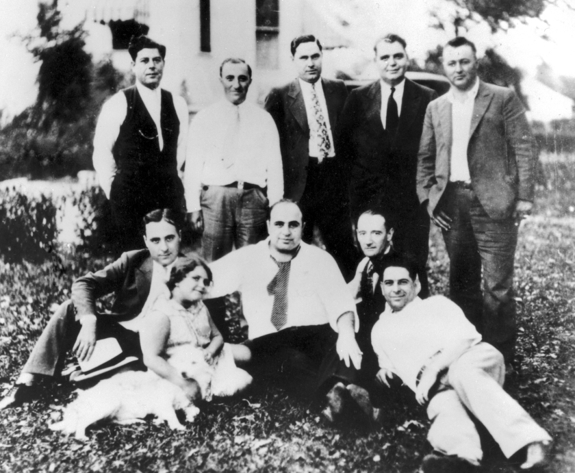 View of gangster Al Capone with family and friends at a picnic in Chicago Heights, IL during 1929. (Chicago History Museum/Getty Images)