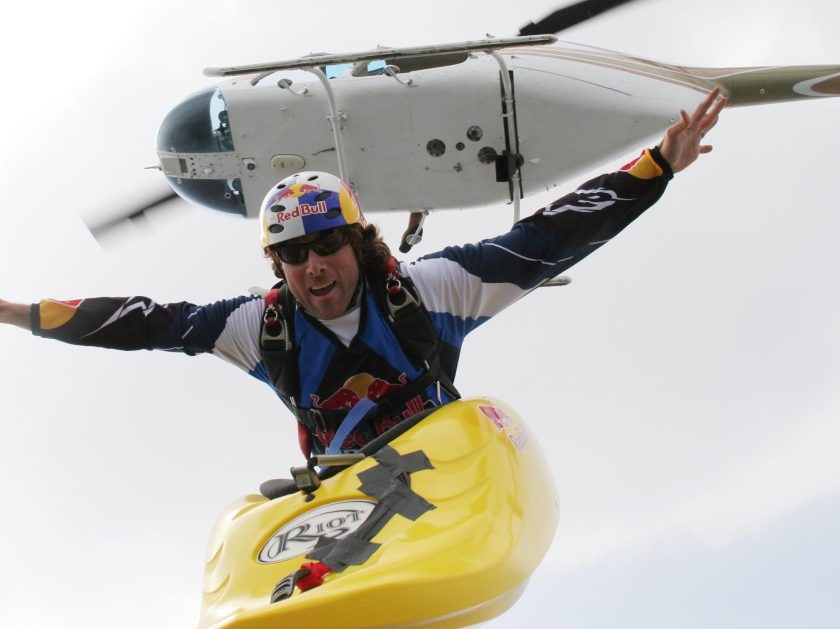 Skyaker Miles Daisher 'Skyaks' out of a helicopter in Mexico. Danger man Miles Daisher casts a bizarre image paddling across the sky - 13,000 feet up in a kayak. The daredevil has turned extreme sport skydiving on its head after deciding to jump out of a plane in equipment normally used only in water - giving birth to 'skyaking'. (John Charles Colclasure / Barcroft Media / Getty Images)