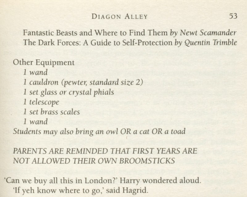 The first edition of Harry Potter and the Philosopher's Stone is also known for the repetition on page 53 of '1 wand' in the list of equipment that pupils must take with them to Hogwarts at the beginning of term. This error was corrected in subsequent editions. The first edition comes in various formats, but the most valuable is the first impression of the hardback, which must carry the number sequence 10 9 8 7 6 5 4 3 2 1 on the reverse of the title-page. The second impression of the hardback is also of some value, as is the first impression of the paperback.(Bonhams)