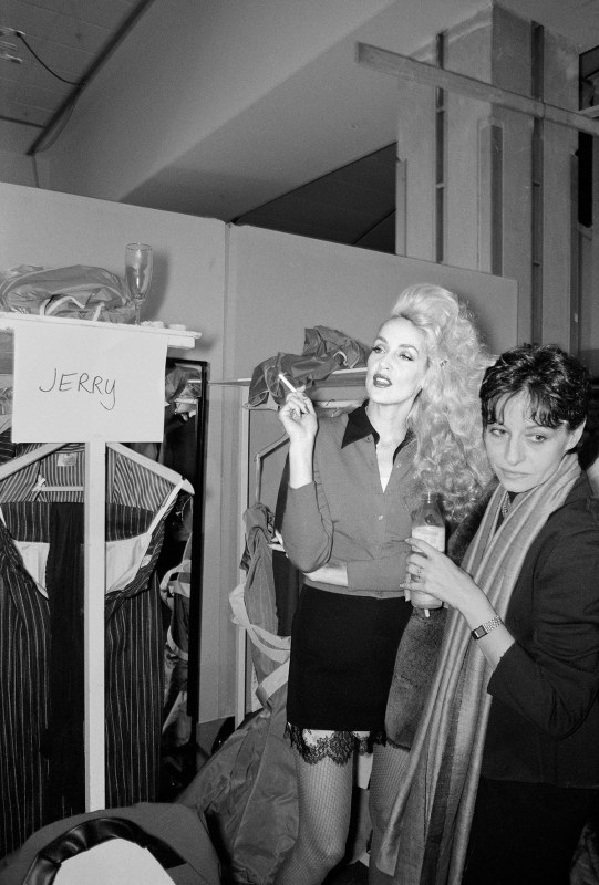 Jerry Hall backstage at the Vivienne Westwood fashion show, Paris, 1996 (Miles Ladin)