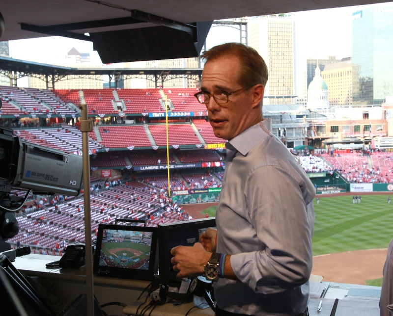 ST. LOUIS - OCTOBER 28: Broadcaster Joe Buck in broadcast booth before the game. The St. Louis Cardinals host the Boston Red Sox at Busch Stadium for Game Five of the 2013 Major League Baseball World Series, Oct. 28, 2013. (Photo by John Blanding/The Boston Globe via Getty Images)