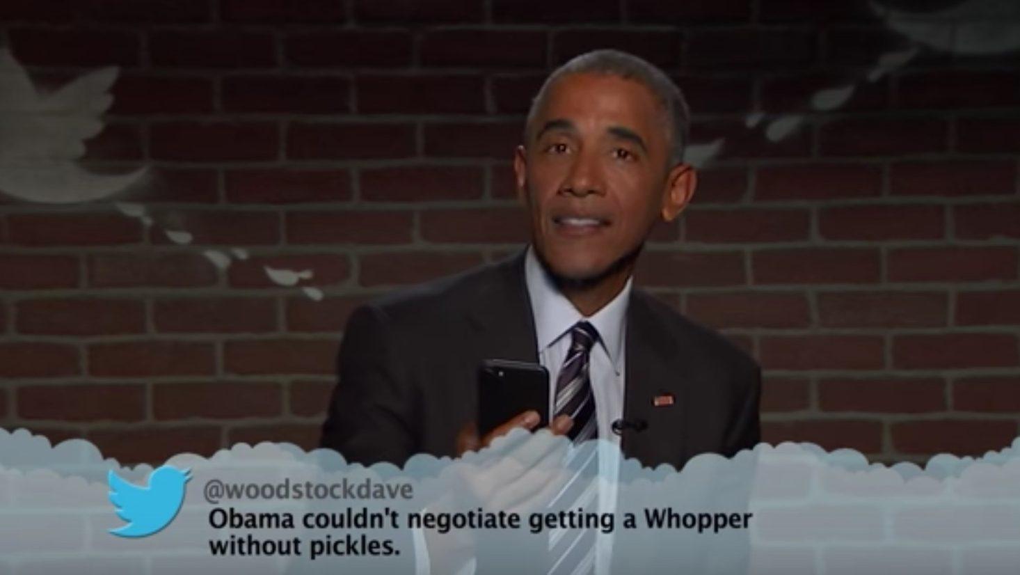 President Obama Reads Trump's 'Mean Tweet' on 'Jimmy Kimmel Live'