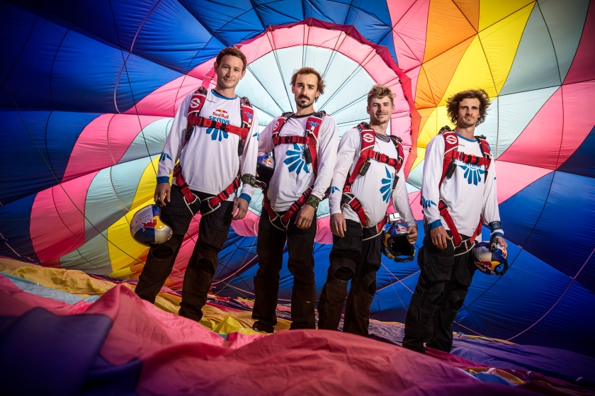 Georg Lettner, Marco Waltenspiel, Marco Fuerst and Dominic Roithmair pose for a portrait during the Red Bull Megaswing 2016 in Fromberg, Austria on July 6, 2016. (Philip Platzer/Red Bull Content Pool)