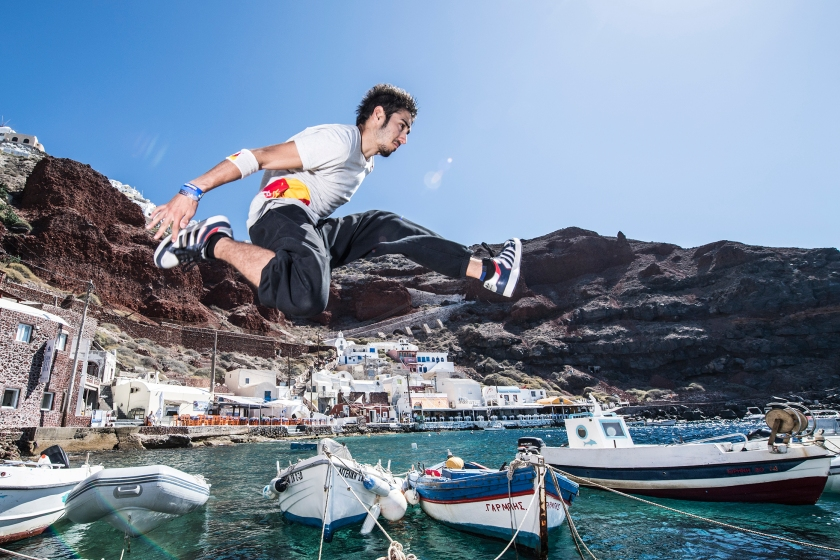 Dimitris Kyrsanidis of Greece exploring the island of Santorini ahead of the Red Bull Art of Motion in Santorini, Greece on September 28, 2016. (Predrag Vuckovic/Red Bull Content Pool)