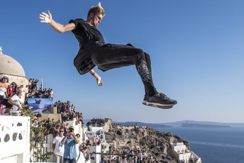 Alfred Scott of the United States performs during the finals at the Red Bull Art of Motion on Santorini Island, Greece on October 1, 2016. (Predrag Vuckovic/Red Bull Content Pool)
