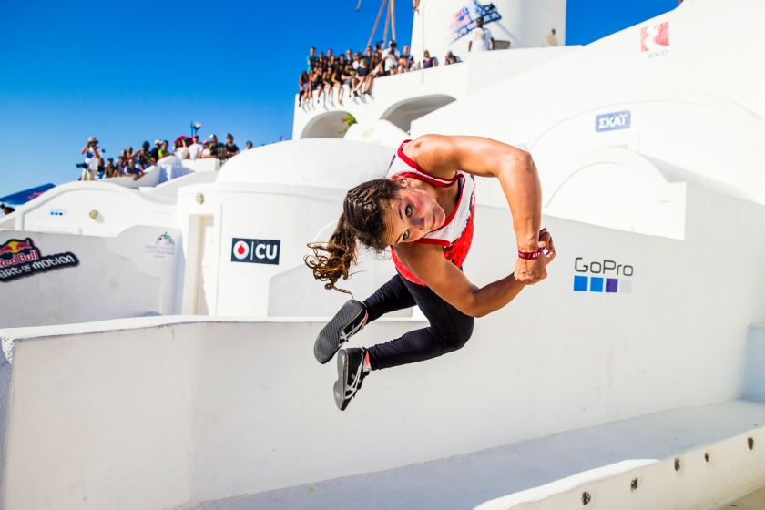 Sydney Olson of the United States competes during Red Bull Art of Motion 2016 on Santorini island, Greece on October 1, 2016. (Predrag Vuckovic/Red Bull Content Pool)