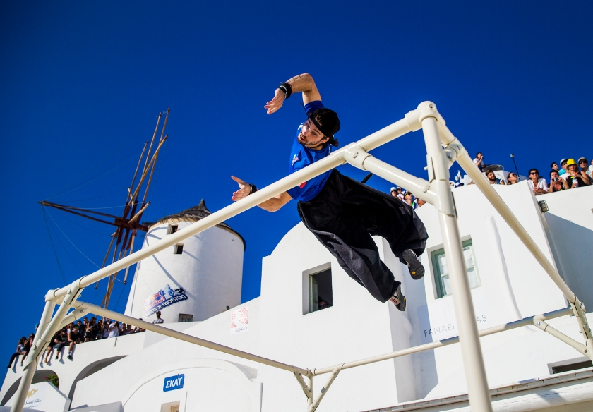 Yoann Leroux of France competes during Red Bull Art of Motion 2016 on Santorini island, Greece on October 1, 2016. (Samo Vidic/Red Bull Content Pool)