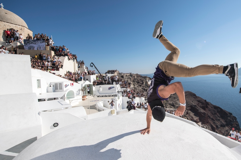 Cory Demeyers of the United States performs during the finals at the Red Bull Art of Motion on Santorini Island, Greece on October 1, 2016. (Predrag Vuckovic/Red Bull Content Pool)