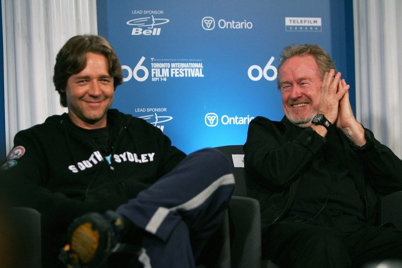"TORONTO - SEPTEMBER 09: Actor Russell Crowe and Director Ridley Scott attend ""A Good Year"" press conference during the Toronto International Film Festival held at the Sutton Place Hotel on September 9, 2006 in Toronto, Canada. (Photo by Evan Agostini/Getty Images)"