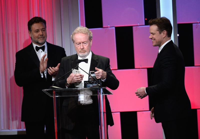 BEVERLY HILLS, CA - OCTOBER 14: Honoree Sir Ridley Scott (C) accepts the American Cinematheque Award from actors Russell Crowe and Matt Damon onstage at the 30th Annual American Cinematheque Awards Gala at The Beverly Hilton Hotel on October 14, 2016 in Beverly Hills, California. (Photo by Kevork Djansezian/Getty Images)