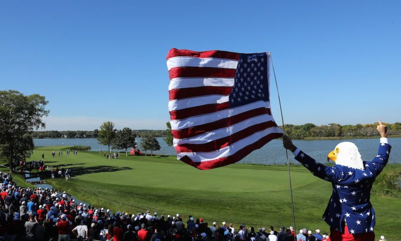 CHASKA, MN - SEPTEMBER 30: A fan wearing an eagle mask cheers during afternoon fourball matches of the 2016 Ryder Cup at Hazeltine National Golf Club on September 30, 2016 in Chaska, Minnesota. (Photo by David Cannon/Getty Images)