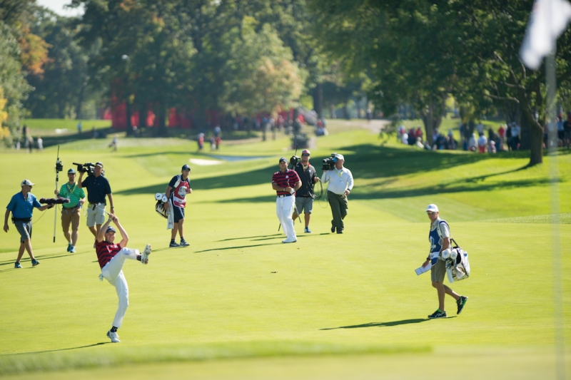 CHASKA, MINNESOTA - OCTOBER 1: Jordan Spieth and Patrick Reed of the United States celebrate Patrick's shot on the sixth hole during the fourball matches for the 41st Ryder Cup at Hazeltine National Golf Course on October 1, 2016 in Chaska, MN. (Photo by Montana Pritchard/PGA of America via Getty Images)