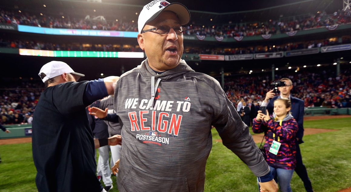 Manager Terry Francona of the Cleveland Indians celebrates after defeating the Boston Red Sox in Game 3 of ALDS at Fenway Park on Monday, October 10, 2016 in Boston, Massachusetts. (Rob Tringali/MLB Photos via Getty Images)