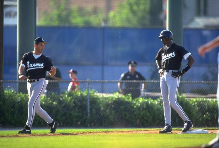 Birmingham Barons Michael Jordan (45) on 3rd base with manager Terry Francona during game at Hoover Metropolitan Stadium. (Patrick Murphy-Racey /Sports Illustrated/Getty Images)