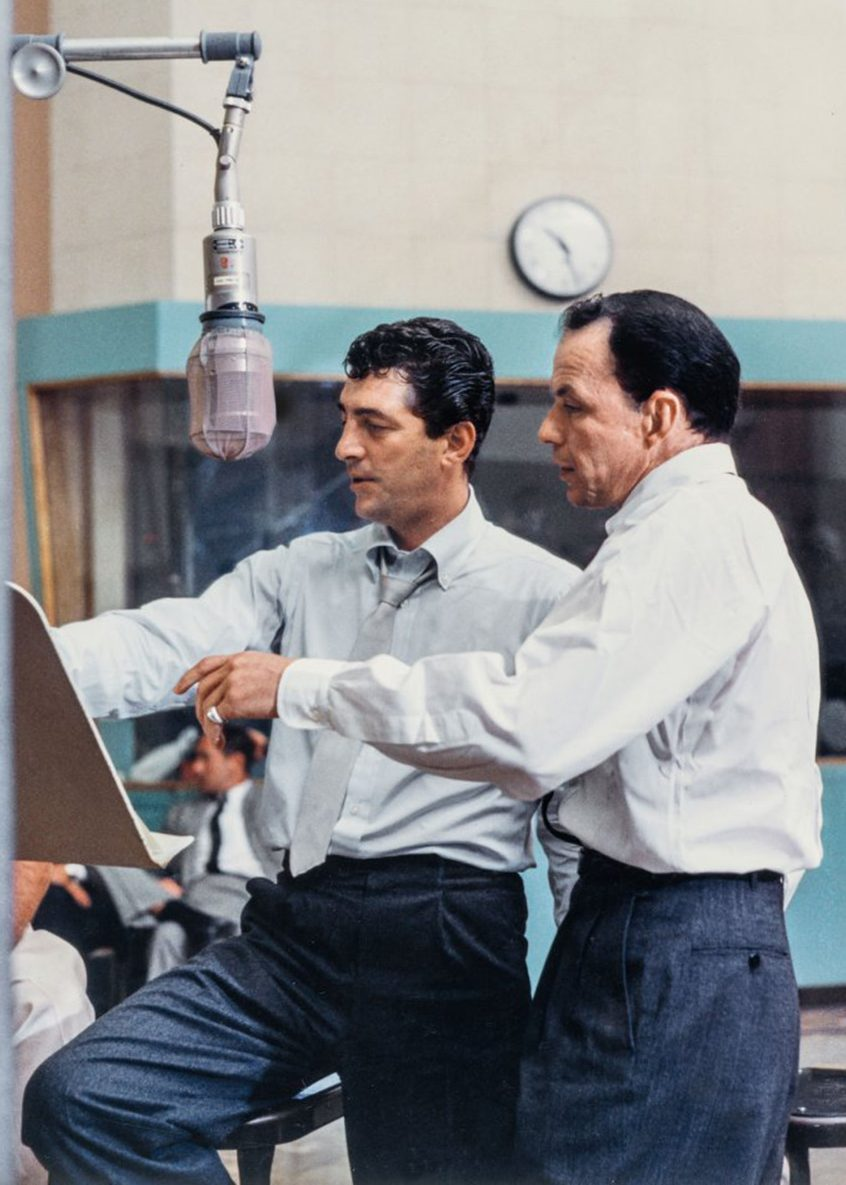 Frank Sinatra and Dean Martin at the sessions for Martin's Sleep Warm LP. (Taschen)