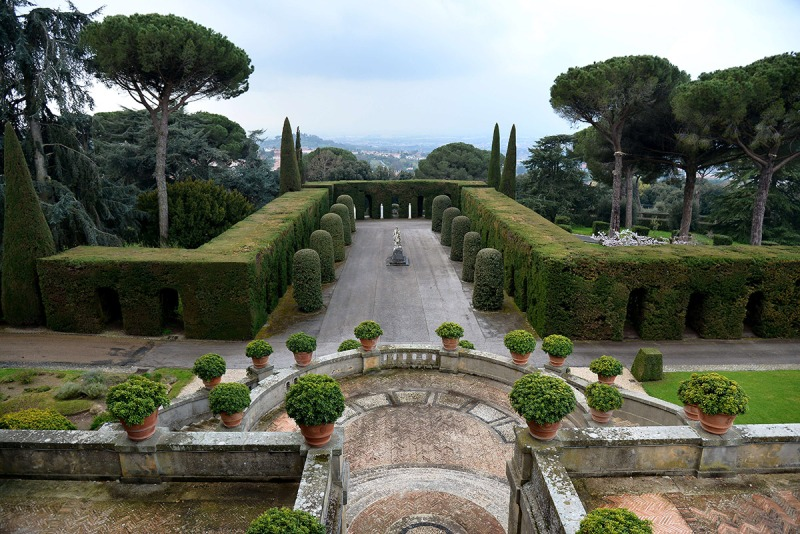 "Picture of the gardens of Pope's summer residence of Castel Gandolfo, south of Rome, taken on March 22, 2014 in CastelGandolfo. From March 1st, the gardens surrounding the papal summer residence are open to the public. Located south of Rome in the Alban hills, the property includes the extensive Barberini gardens, the remains of a Roman villa and a 62 acre farm, as well as the ancient papal palace. A statement from the director of the Vatican Museums says it was Pope Francis himself who decided to make accessible to all the gardens of the Pontifical Villas. A guided tour of the gardens, in Italian or English, will be available to individuals or groups through an online booking system. AFP PHOTO / VINCENZO PINTO = RESTRICTED TO EDITORIAL USE - MANDATORY CREDIT ""AFP PHOTO/VINCENZO PINTO"" - NO MARKETING NO ADVERTISING CAMPAIGNS - DISTRIBUTED AS A SERVICE TO CLIENTS = (Photo credit should read VINCENZO PINTO/AFP/Getty Images)"