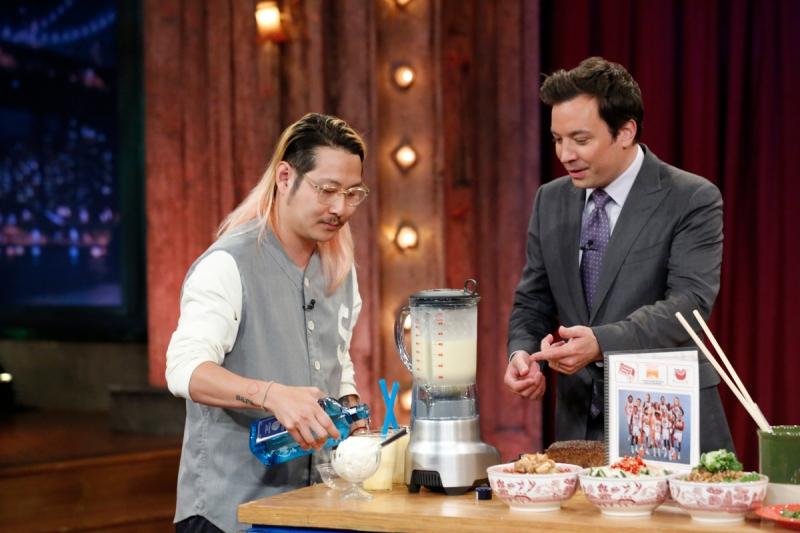 Chef Danny Bowien with host Jimmy Fallon during a demo -- (Lloyd Bishop/NBC/NBCU Photo Bank)
