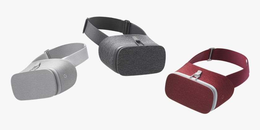 View headsets are made of soft cloth, purportedly inspired by casual clothes. Daydream View bundled with a controller device will be available in November, priced at $79. (Courtesy Google)