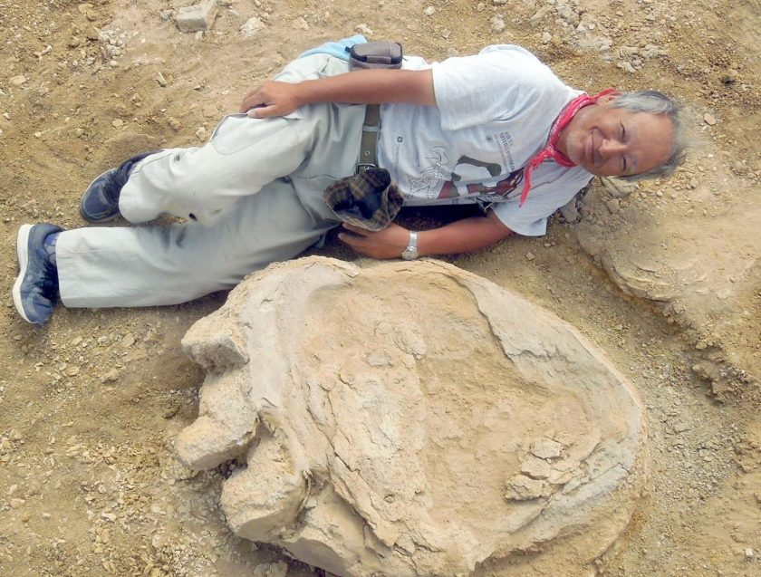 Professor Shinobu Ishigaki lies next to a dinosaur print in the Gobi Desert.(Courtesy of Shinobu Ishigaki/Okayama University of Science)