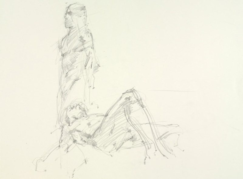 Tobias Hall, Untitled (Two poses: Standing and lying), from Iggy Pop Life Class, 2016. Graphite pencil on paper. (Sarah DeSantis/Brooklyn Museum)