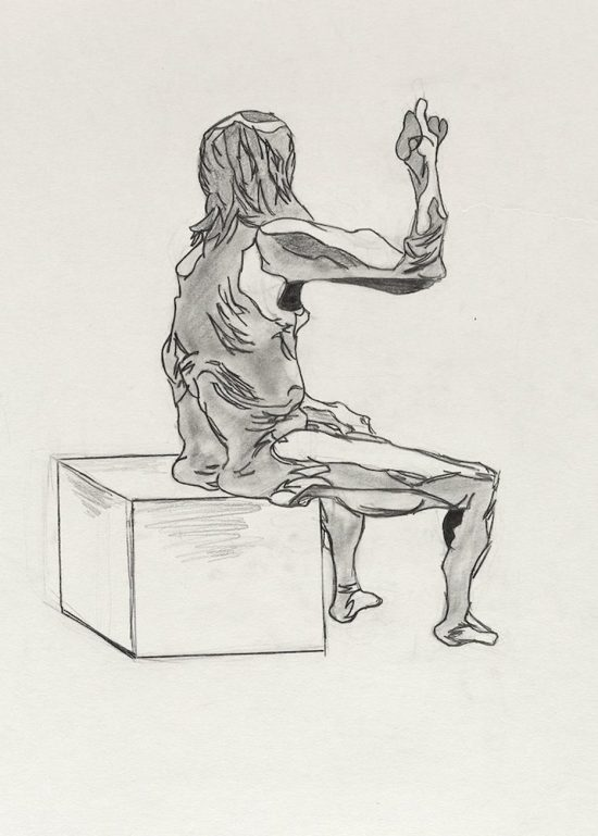 Mauricio Rodriguez, Untitled (Seated pose), from Iggy Pop Life Class, 2016. Graphite pencil with erasing on paper. Brooklyn Museum Collection. (Sarah DeSantis/Brooklyn Museum)