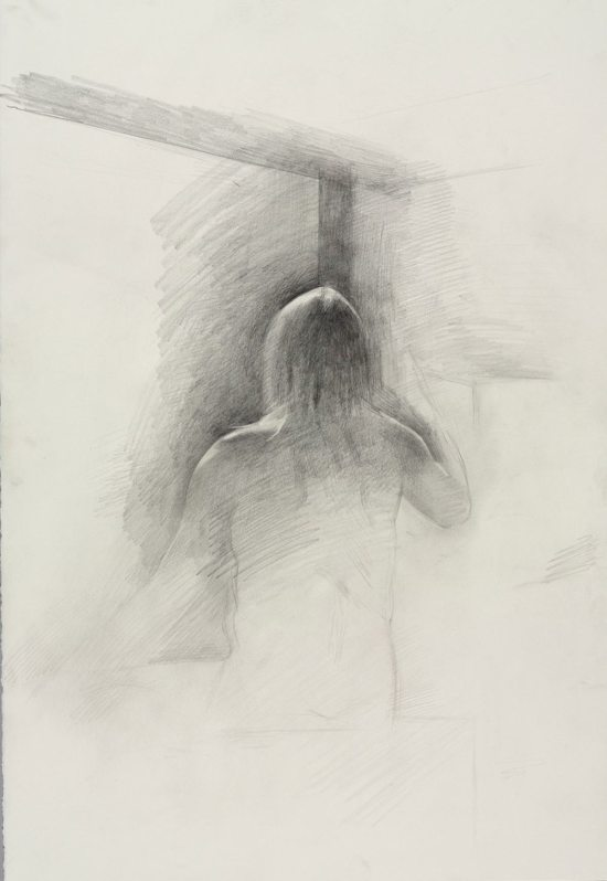Jeremy Day, Untitled (Seated pose, back view), from Iggy Pop Life Class, 2016. Graphite pencil on paper. (Sarah DeSantis/Brooklyn Museum)