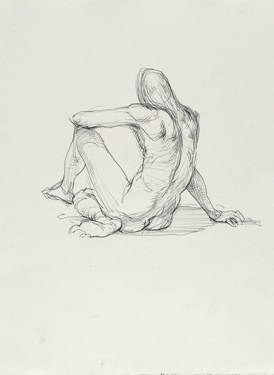 Guno Park, Untitled (Sitting pose), from Iggy Pop Life Class, 2016. Black ballpoint pen on paper. Brooklyn Museum Collection. (Sarah DeSantis/Brooklyn Museum)
