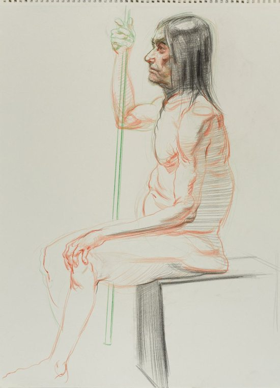 Angel Ramirez, Untitled (Seated pose), from Iggy Pop Life Class, 2016. Colored pencils and charcoal on paper. (Sarah DeSantis/Brooklyn Museum)