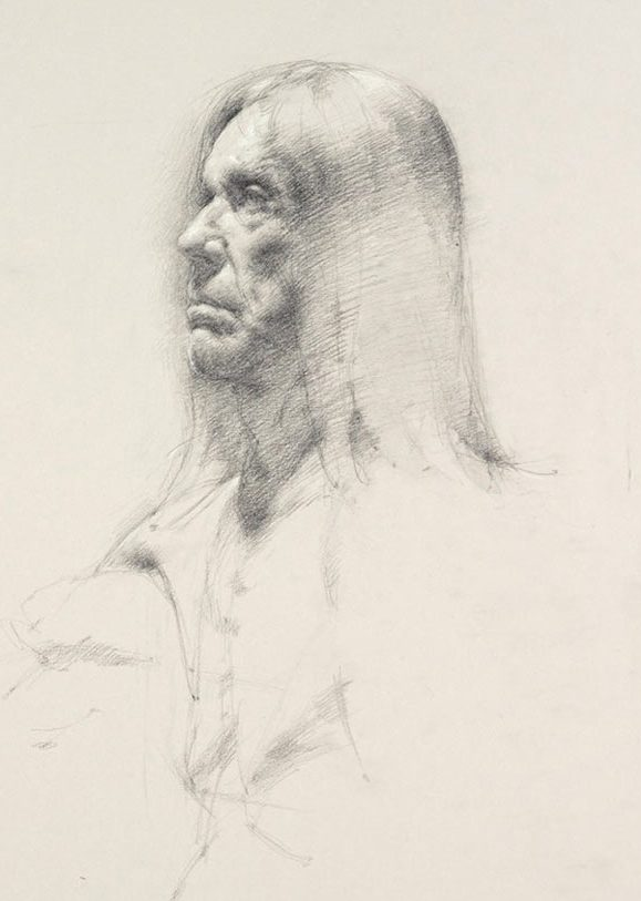 Tobias Hall, Untitled (Seated pose, detail of face), from Iggy Pop Life Class, 2016. Graphite pencil with touches of white chalk on paper. Brooklyn Museum Collection. (Sarah DeSantis/Brooklyn Museum)