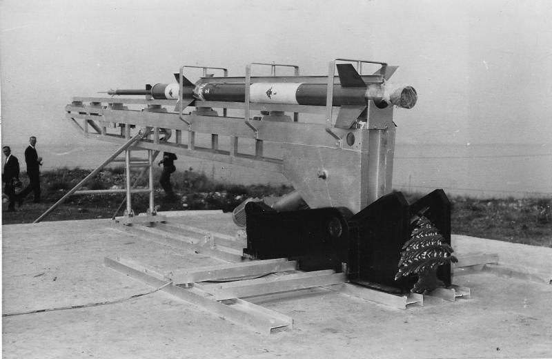 Cedar 4, a 3-stage rocket with a range over 150 miles, c. 1964 ((Manoug Manougian)