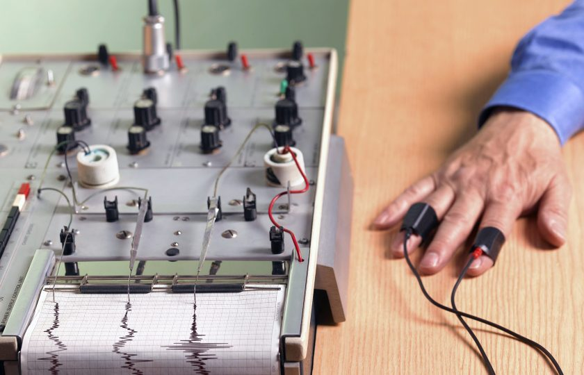 Man undergoing polygraph, or lie detector, test. (Getty Images)