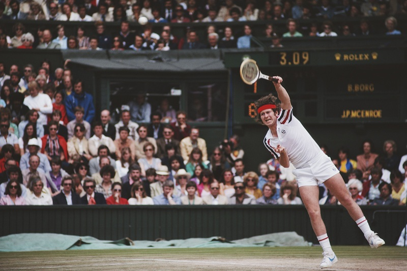 John McEnroe of the United States serves during the Men's Singles Final match against Bjorn Borg at the Wimbledon Lawn Tennis Championship on 6 July 1980 at the All England Lawn Tennis and Croquet Club in Wimbledon in London, England. (Photo by Steve Powell/Getty Images)