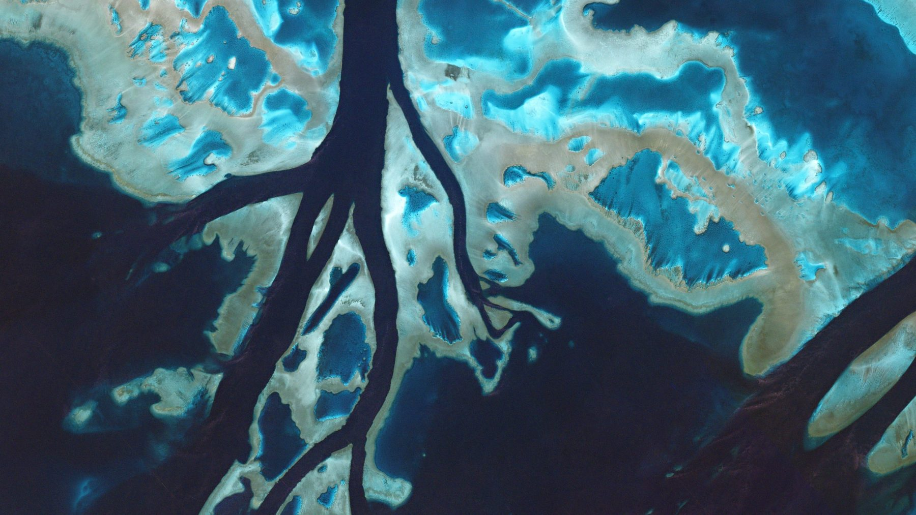 Taken on July 7, 2016, tidal channels cut through unnamed reefs off the coast of Queensland. These corals are part of the enormous Great Barrier Reef, which stretches for 1,400 miles along the coast of mainland Australia in the Coral Sea. (Courtesy Planet Labs)