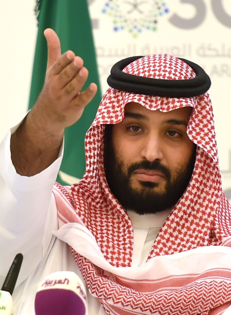 Saudi Defense Minister and Deputy Crown Prince Mohammed bin Salman gestures during a press conference in Riyadh, on April 25, 2016  (FAYEZ NURELDINE/AFP/Getty Images)