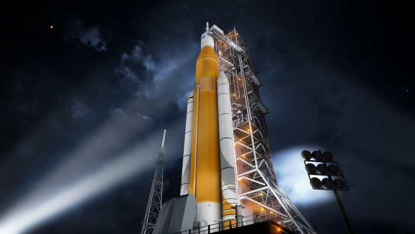 Artists rendering of the Space Launch System NASA plans to use to get humans on Mars by the 2030s (NASA)