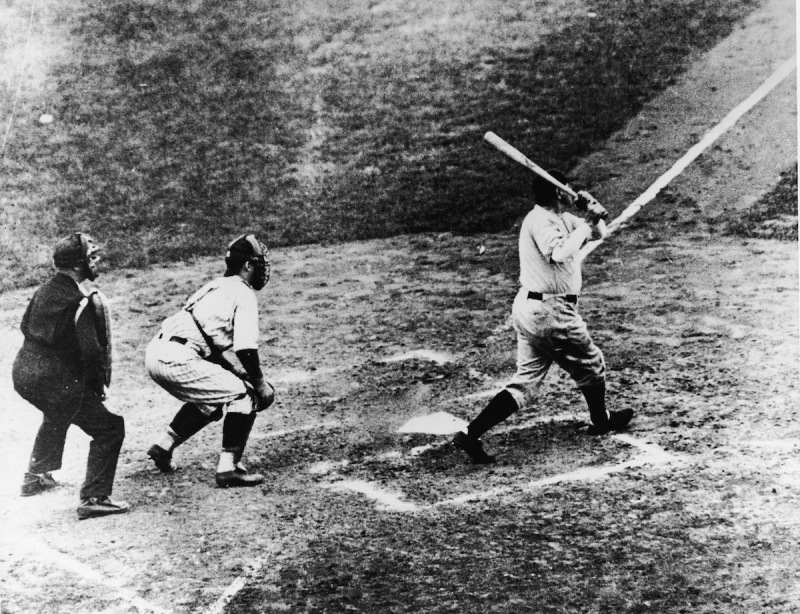 Legendary American baseball player Babe Ruth (1895 - 1948) of the New York Yankees hits a home run in the third game of the World Series against the Chicago Cubs at Wrigley Field, Chicago, October 1, 1932. It was during this game that Ruth gestured with his bat before hitting a home run giving birth to the legend of the 'Called Shot.' (Photo by B. Bennett/Getty Images)
