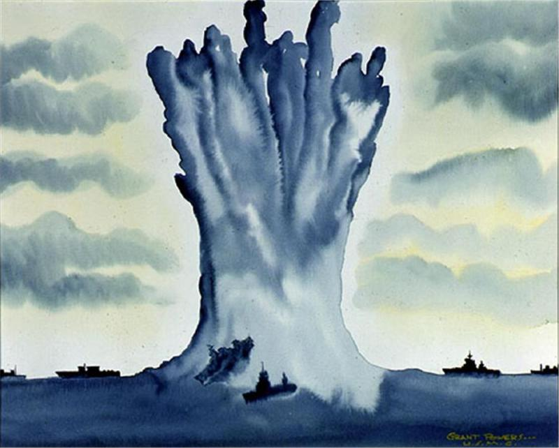 Battleship Arkansas being lifted by the underwater nuclear explosion of Operation Crossroads Baker. (U.S. Marine Corps Artist Grant Powers)