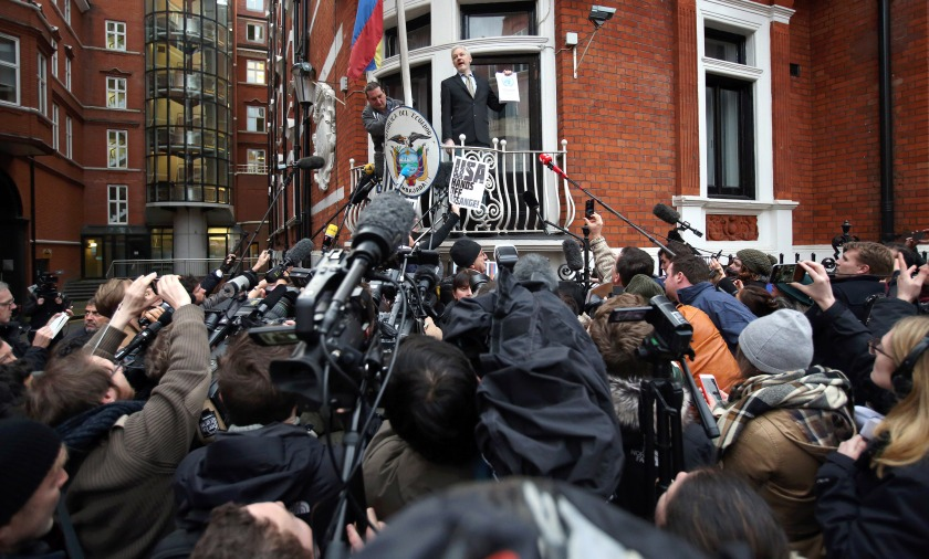 Wikileaks founder Julian Assange speaks from the balcony of the Ecuadorian embassy where he continues to seek asylum following an extradition request from Sweden in 2012, on February 5, 2016 in London, England. The United Nations Working Group on Arbitrary Detention has insisted that Mr Assange's detention should be brought to an end. (Carl Court/Getty Images)