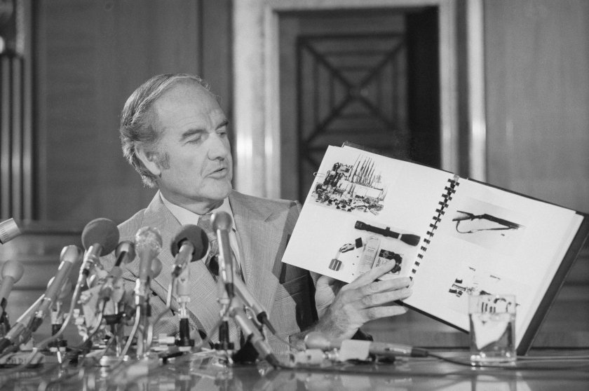 Senator George McGovern, (D-S.D.), is shown holding part of the material sent to him by Cuban Premier Fidel Castro, as he tells a news conference the material contains documentations on 24 alleged attempts by the CIA to assassinate the Cuban leader and some of his associates. Castro forwarded the materials following the Senator's visit to Cuba in May. (Bettmann/Contributor/Getty Images)