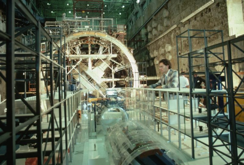 A large fusion test reactor under construction at the Livermore Lab in California.