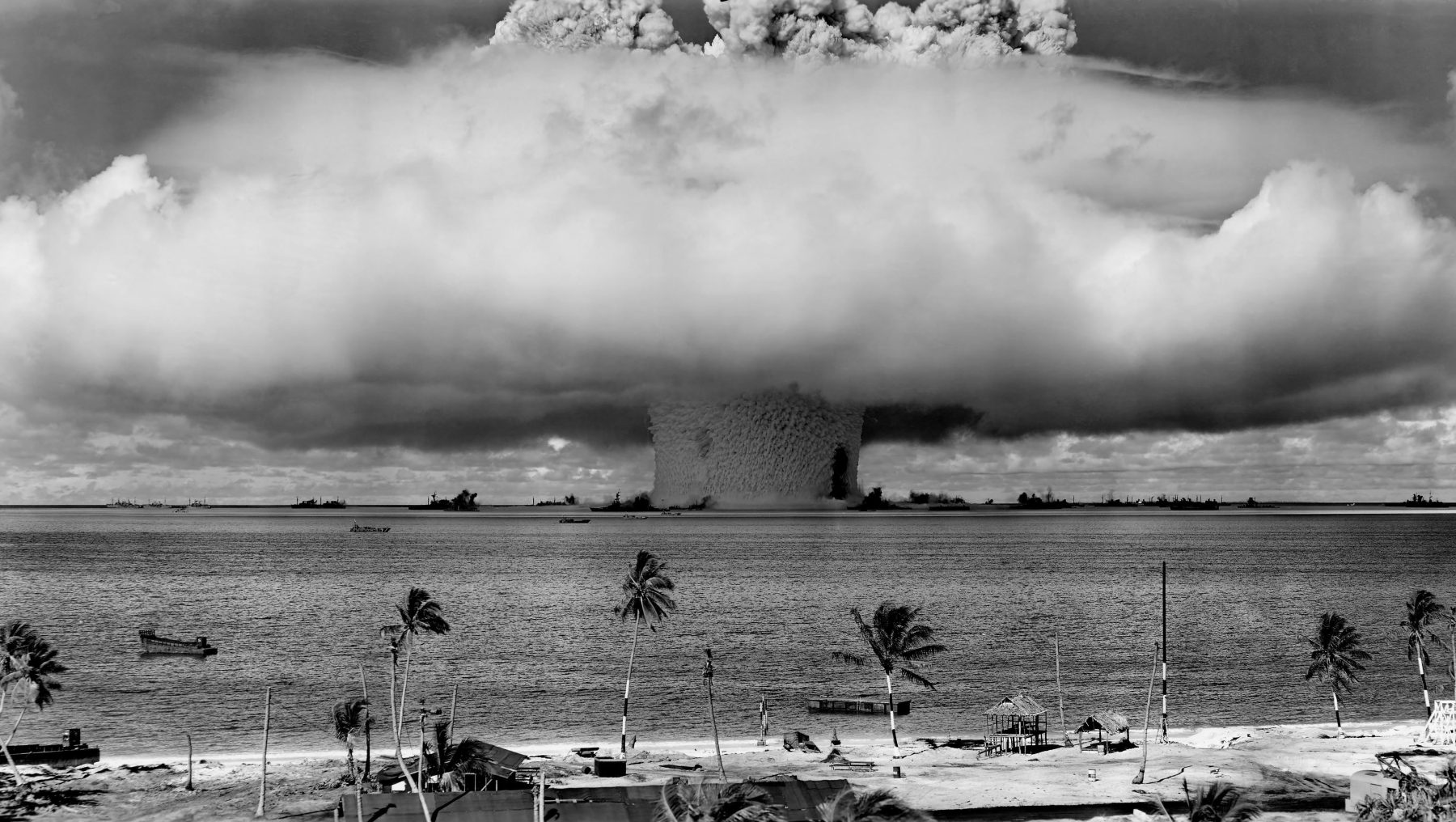 A 21 kiloton underwater nuclear weapons effects test, known as Operation Crossroads  or the Baker Test, conducted at Bikini Atoll in 1946. (United States Department of Defense)