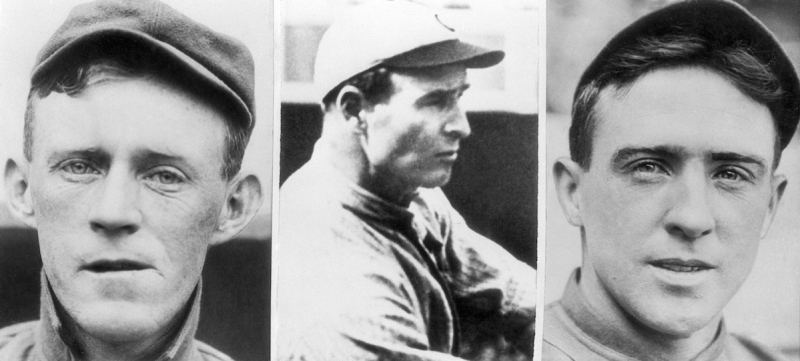 """(Original Caption) 1938- Johnny Evers, Frank Chance and Joe B. Tinker (L to R), who comprised the famous infield combination of the Chicago Cubs, the """"Tinker-To-Evers-To-Chance."""""""