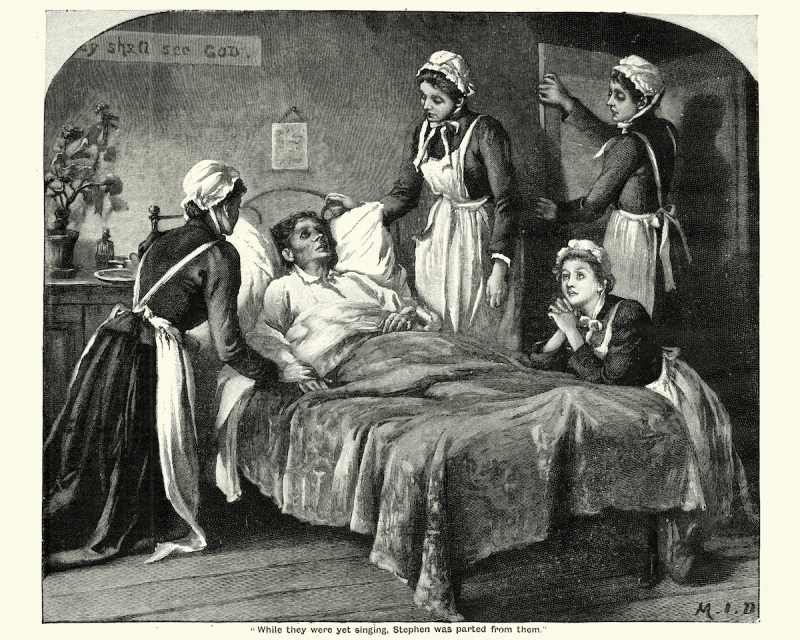 Vintage engraving of Victorian nurses caring for a dying man suffering from Tuberculosis