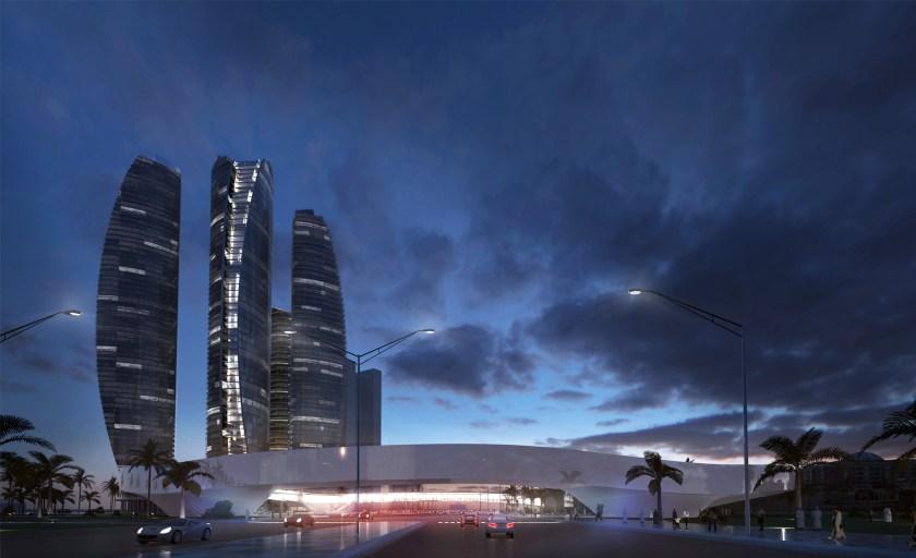 Etihad Towers Hyperportal, View from East, Abu Dhabi (Bjarke Ingels Group/ Hyperloop One)