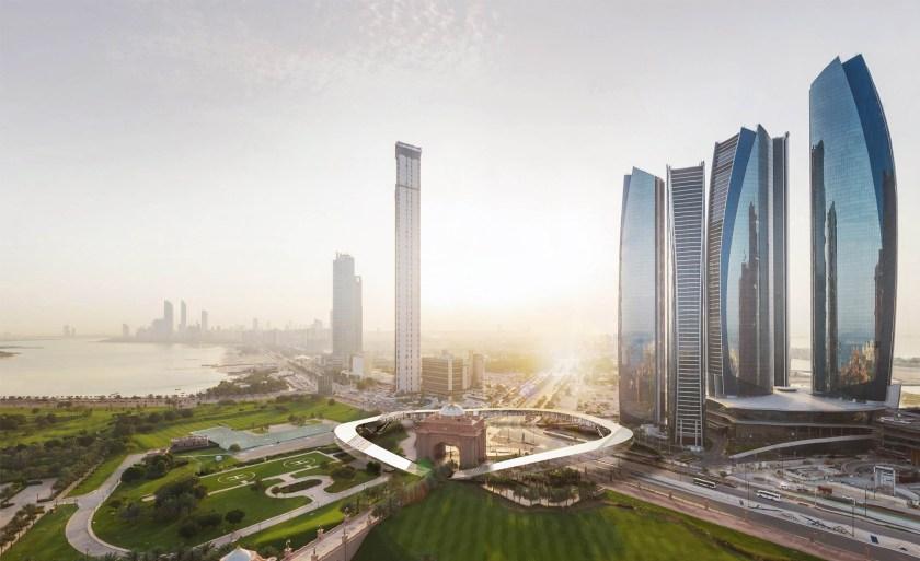 Etihad Towers Hyperportal, Aerial View, Abu Dhabi (Bjarke Ingels Group/ Hyperloop One)