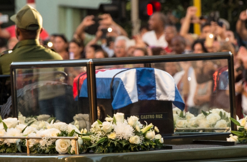 The urn with the ashes of Cuban leader Fidel Castro is driven through the streets of Havana starting a final four-day journey across Cuba (JUAN BARRETO/AFP/Getty Images)