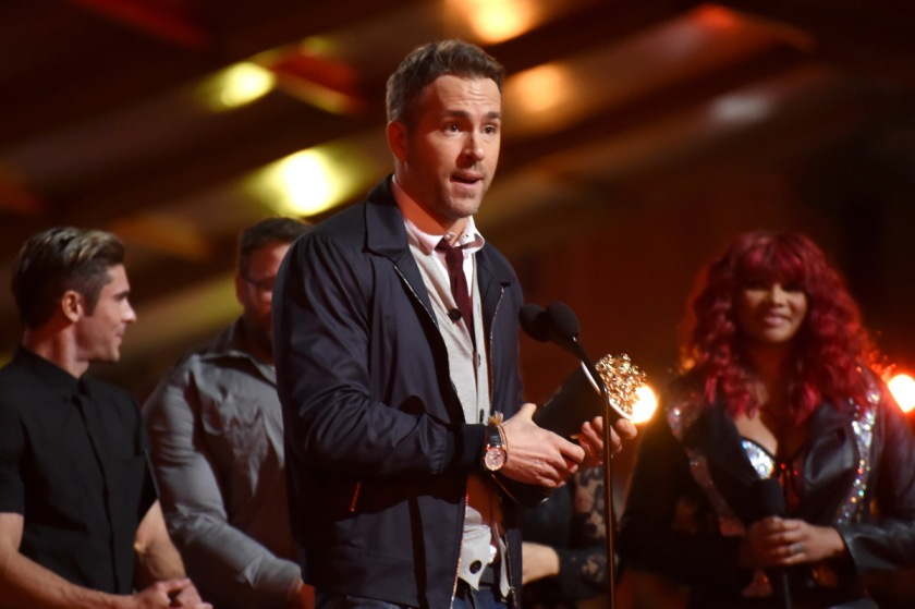 Ryan Reynolds onstage during the 2016 MTV Movie Awards at Warner Bros. Studios on April 9, 2016 in Burbank, California. MTV Movie Awards (Jeff Kravitz/FilmMagic for MTV)