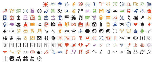 Emoji, the original set of 176, from 1999 (NTT DOCOMO, Inc.)